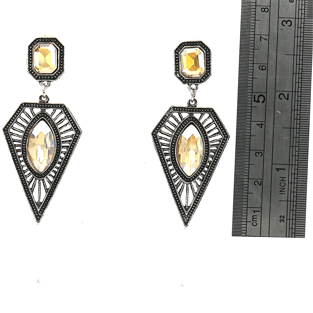 Alloy Yellow Simulated Gemstone Stud Earrings