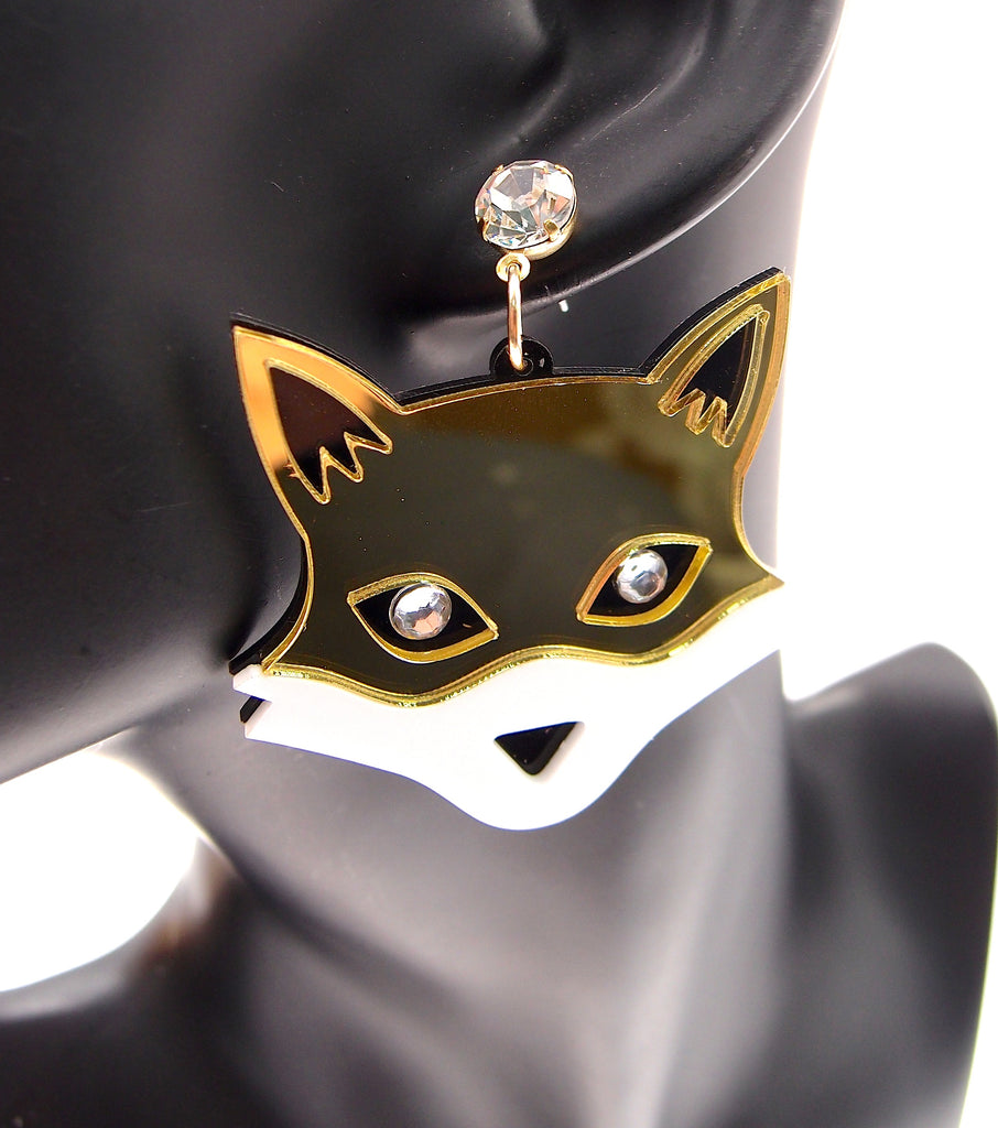 Gold Wolf Acrylic Rhinestone Party Stud Earrings