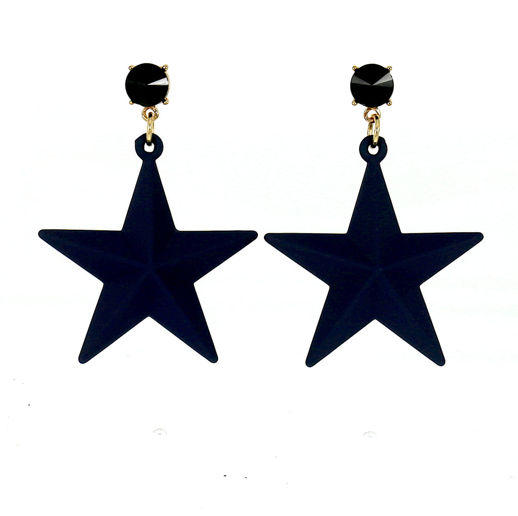 Blue Big Star Acrylic Stud Earrings