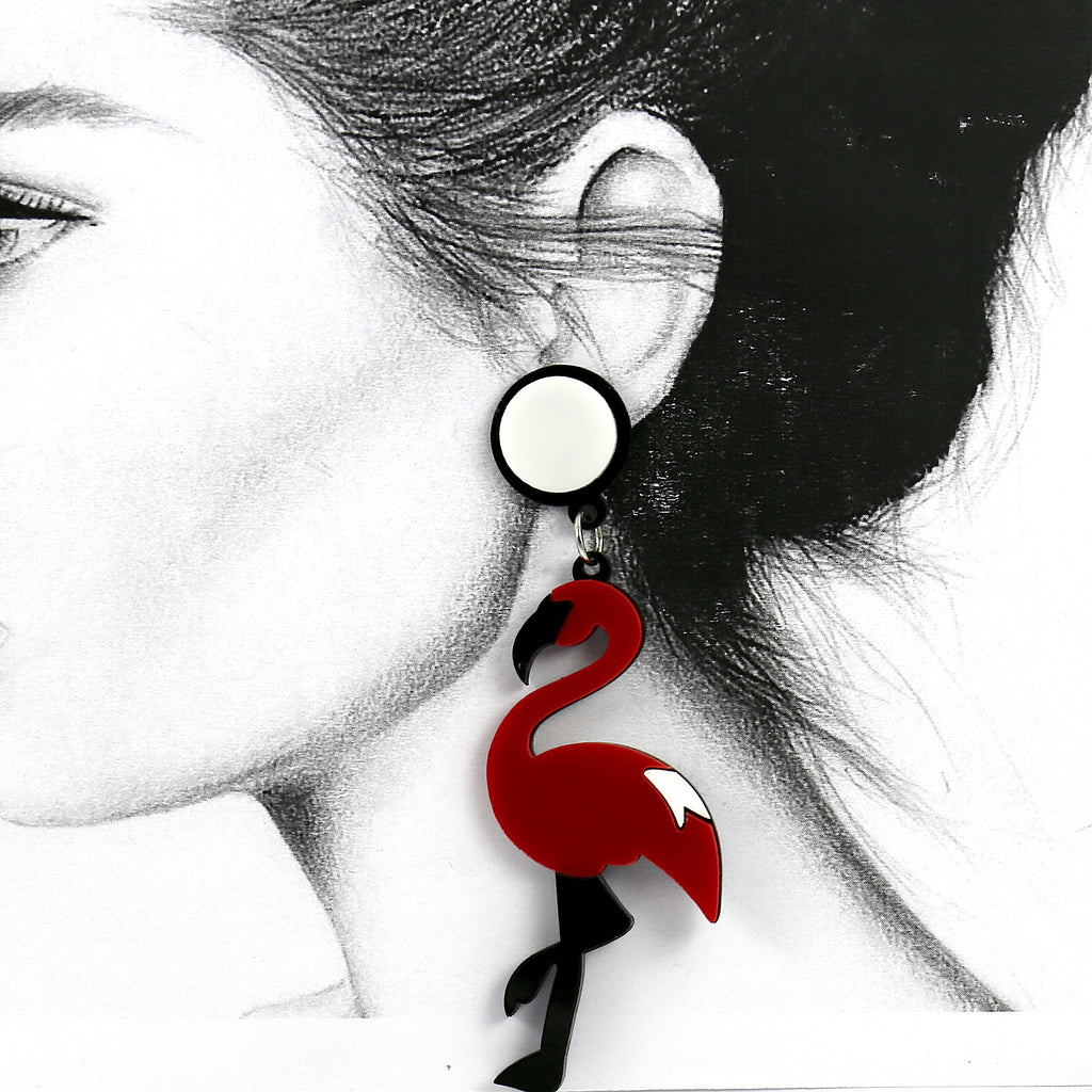 Red Dance Swan Animal Acrylic Stud Earrings