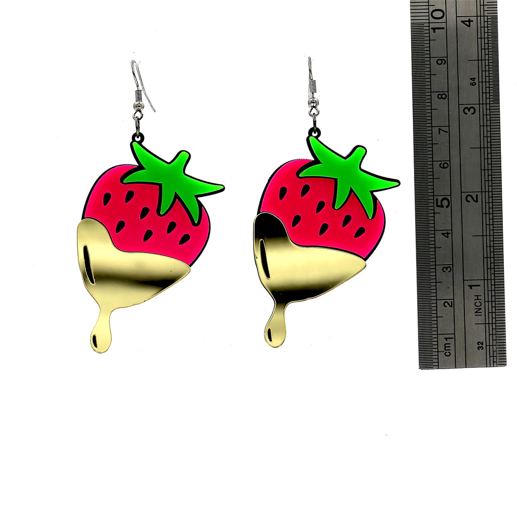 Strawberry Acrylic Drop Earrings