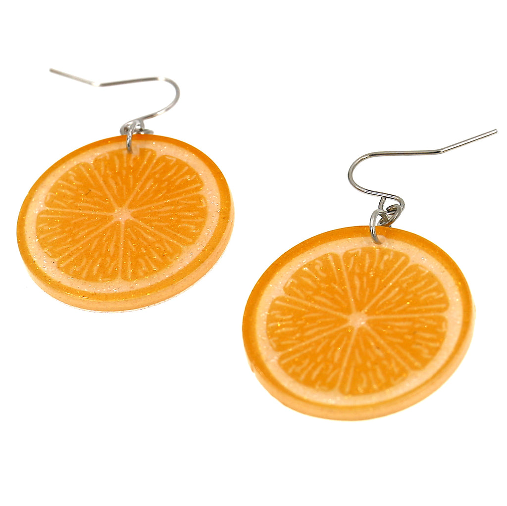 Acrylic Orange Fruit Dangle Earrings