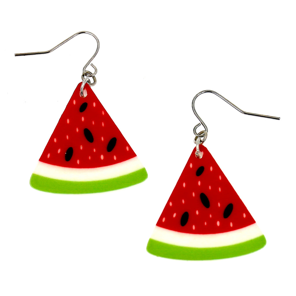 Acrylic Green Red Water Melon Dangle Earrings