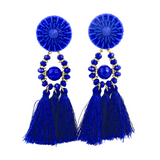 Womens Beaded Tassel Studs Earrings