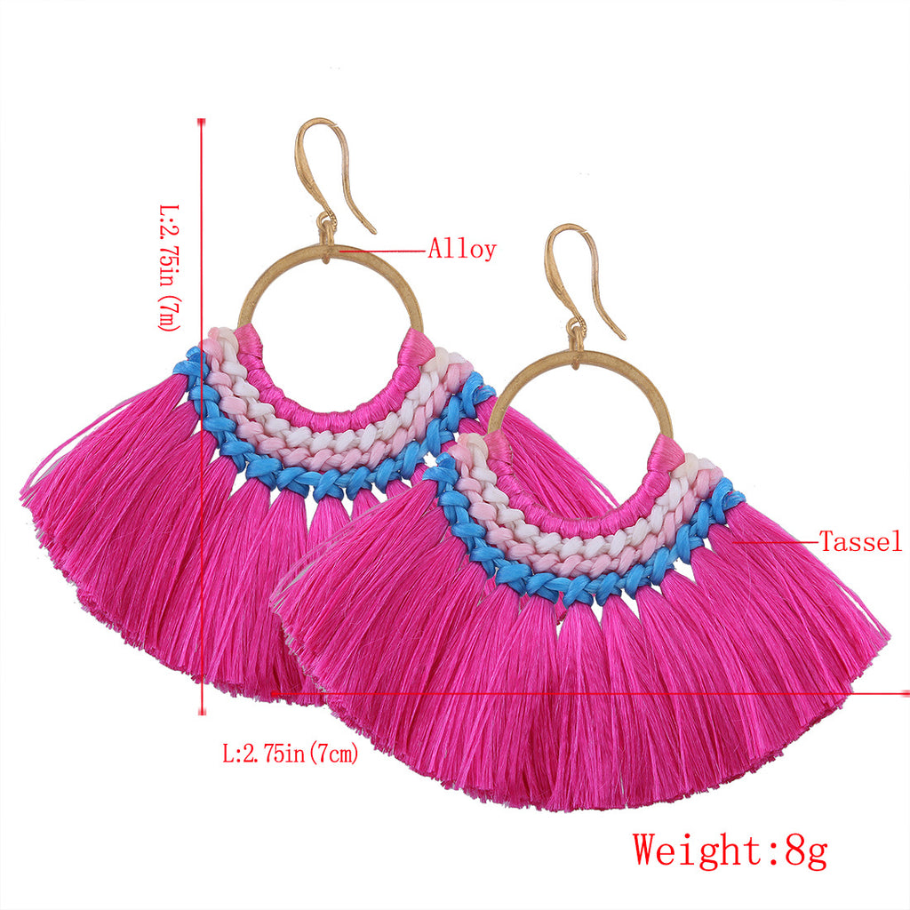 Multi-Color Vintage Jewellery Beaded Tassel Earrings