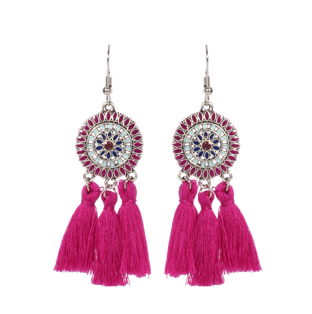 Vintage Big Circle Tassel Dangle Earrings For Women