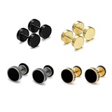 Charm Round Faux Black Gold Plug Stud Earrings for Men (10mm Mix Style (4pairs))