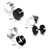 Set Of 6 Boys Charm Round Faux Black Silver Plug Stud Earrings for Men