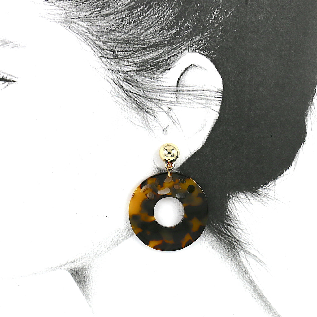 Big Acrylic Brown Leopard Hollow Circle Stud Earrings