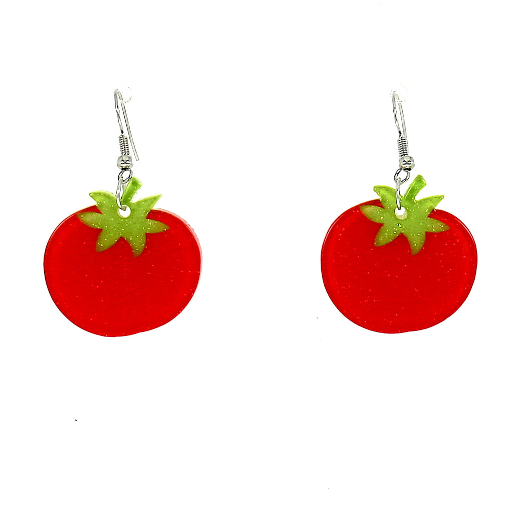 Small Acrylic Red Tomato Drops Dangle Earring