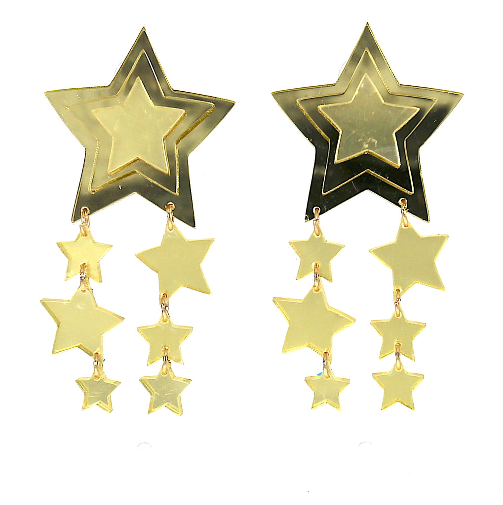 Big Acrylic Multilayer Gold Star Stud Earrings For Women