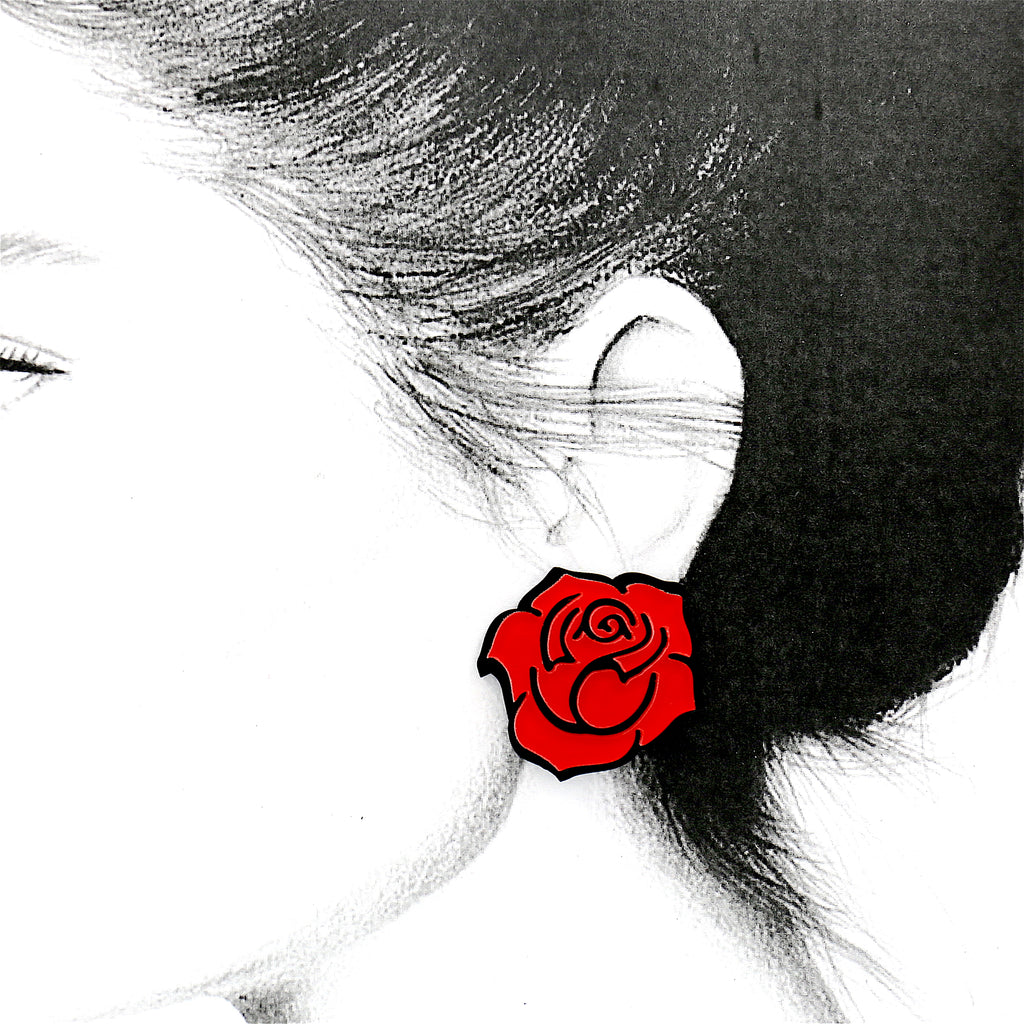 Cute Red Rose Small Acrylic Stud Earrings
