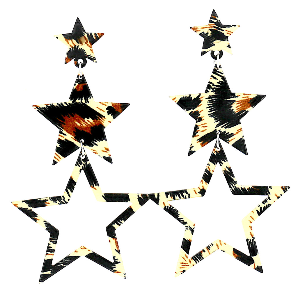 Big Black Star Boho Acrylic Women Stud Earrings