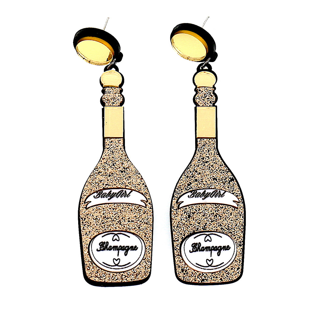 Acrylic Gold Wine Bottle Studs Earrings