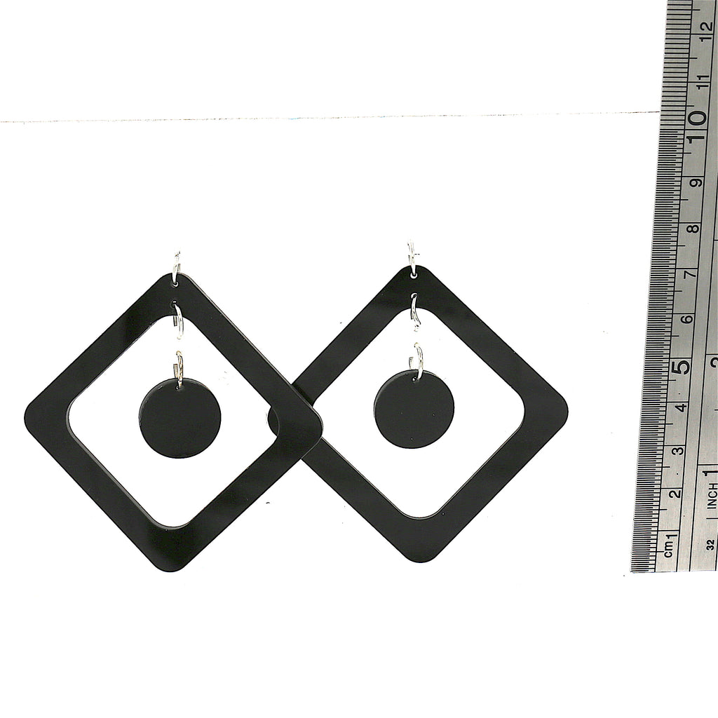 Acrylic Black White Square Studs Earrings
