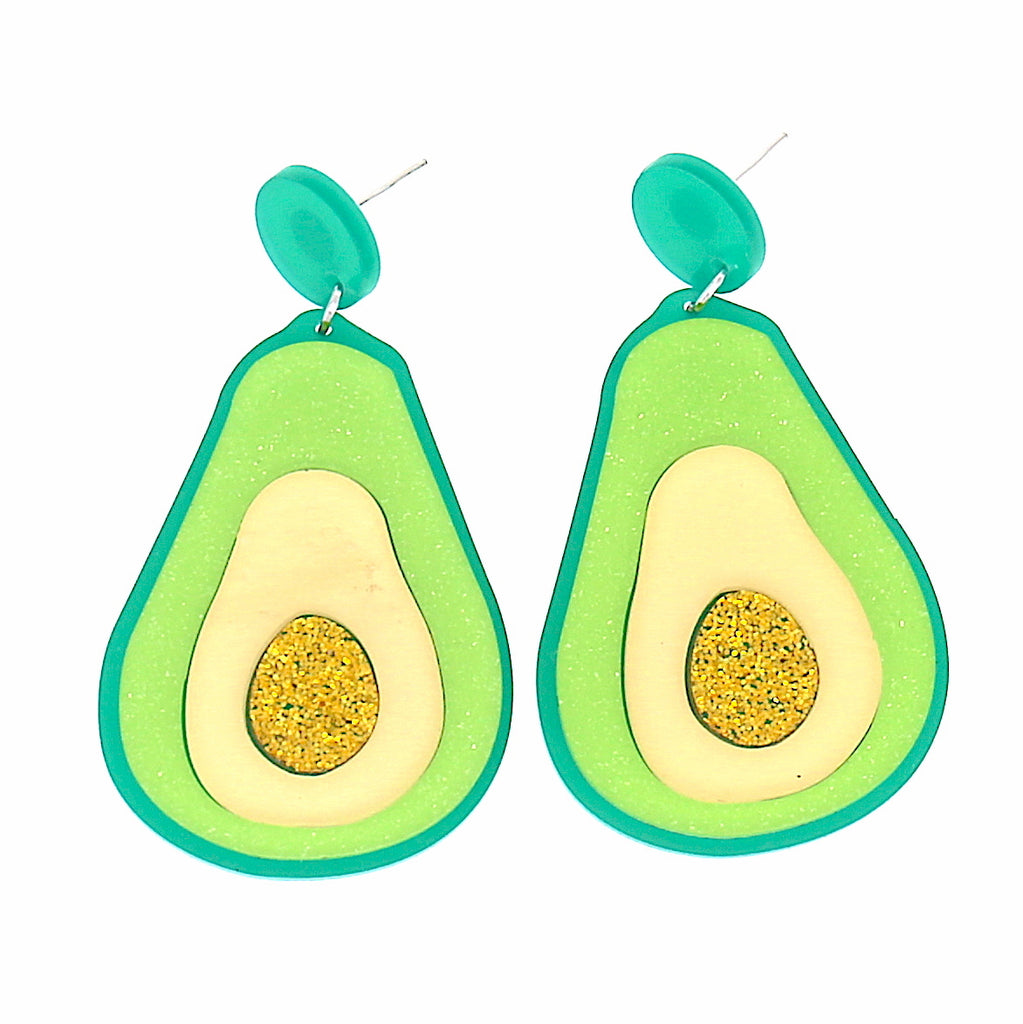 Acrylic Avocado Fruit Stars Stud Earrings
