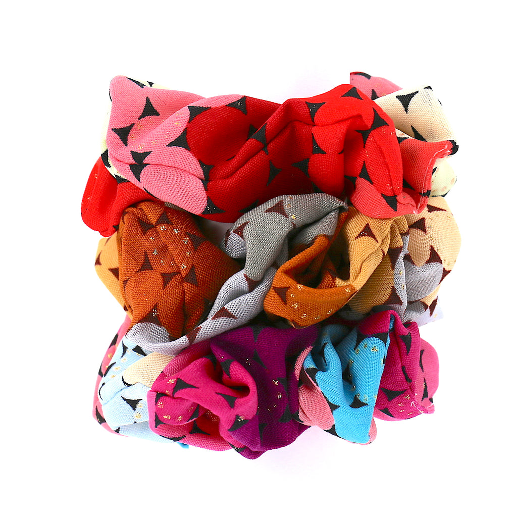 Set of 3 Hair Accessories Girls Elastic Ties Pattern Scrunchies for Women (Vintage Print)