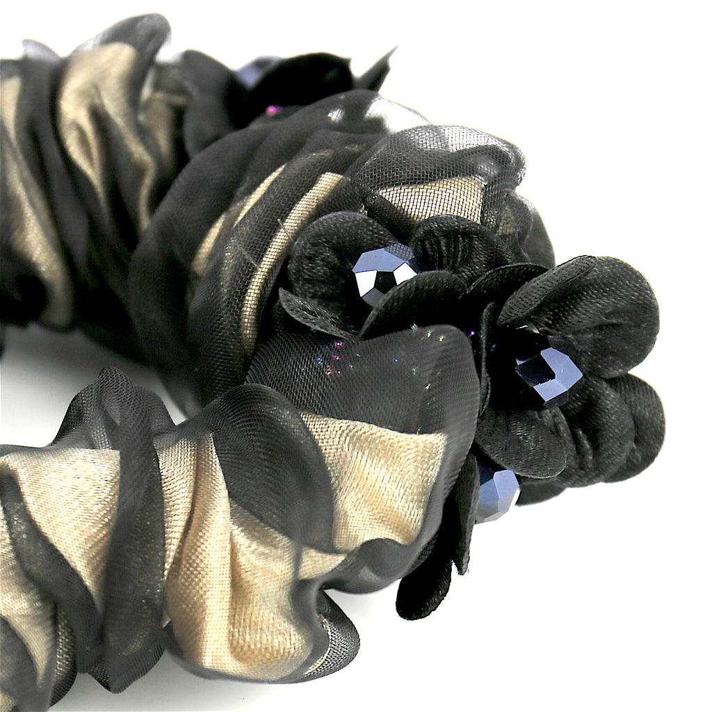 Hair Accessories Women Girls Black Lace Bead Scrunchies (Floral Beads)