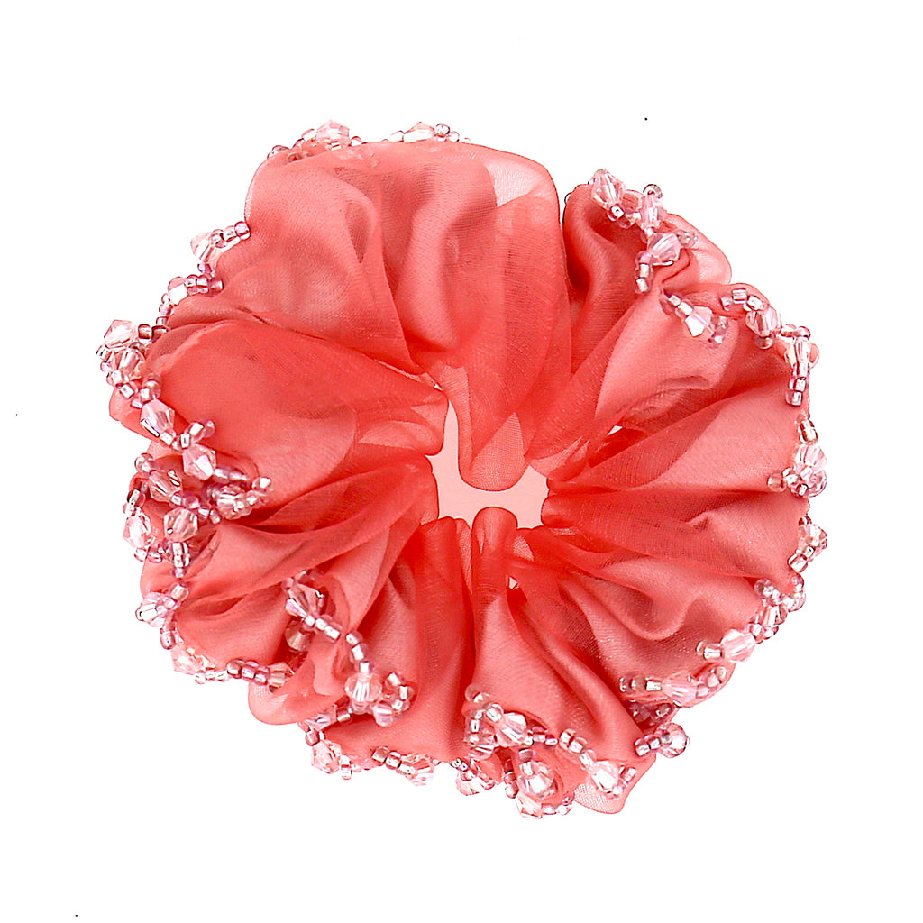 Women Hair Accessories Scrunchie Adjustable Pink Beaded Pattern