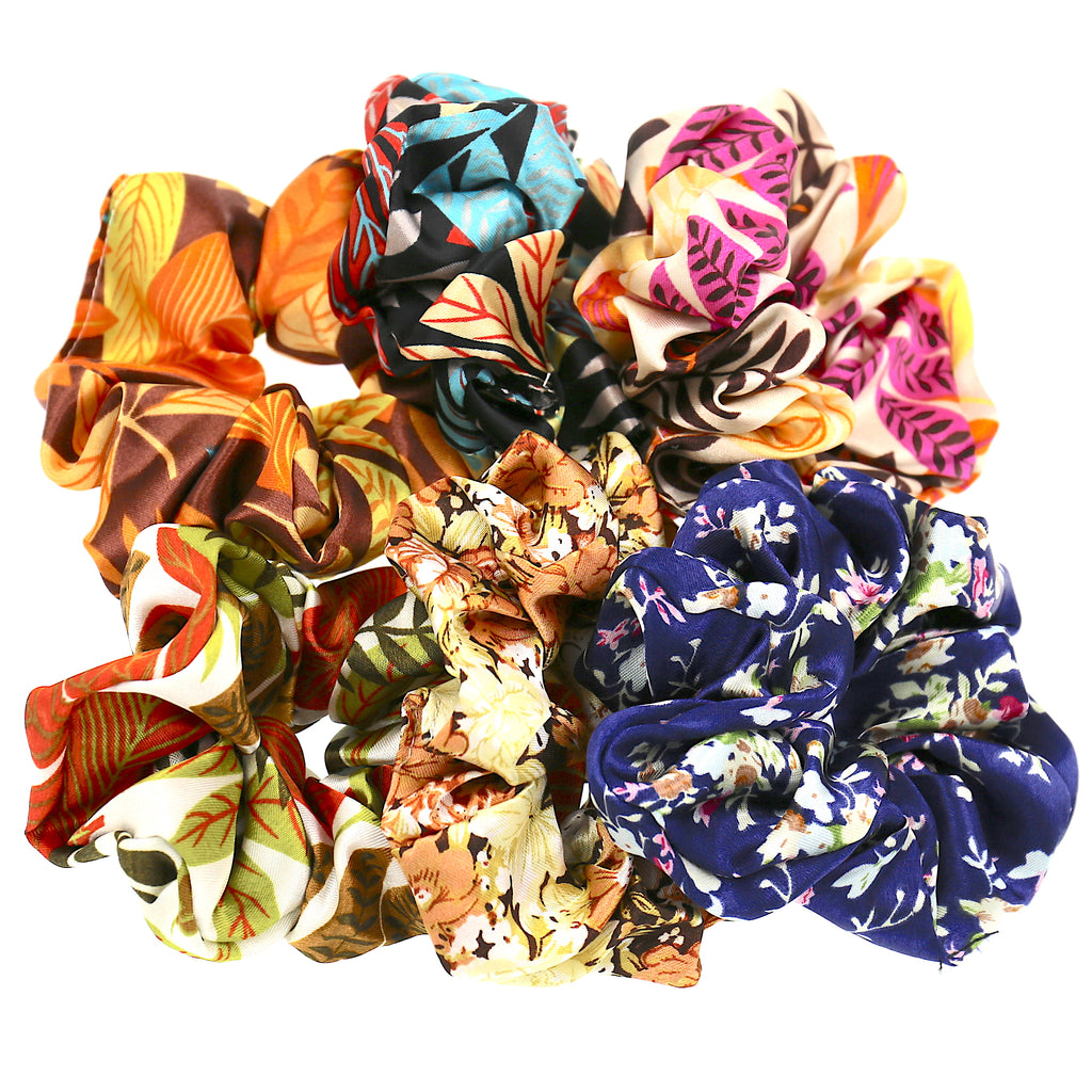 Set of 6 Hair Accessories Women Girls Satin Flower Pattern Elastic Ties Scrunchies