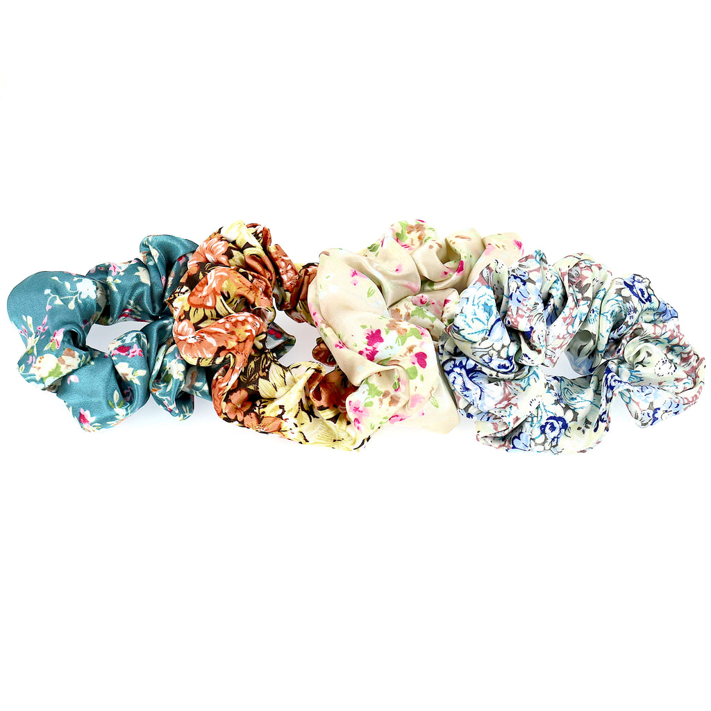 Set of 4 Hair Accessories Set Women Satin Flower Pattern Elastic Ties Scrunchies for Hair