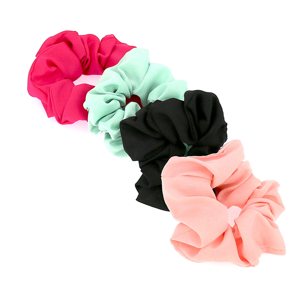 Set of 4 Women Hair Accessories Ties Large Green Black Pink Peach Elastic Scrunchies