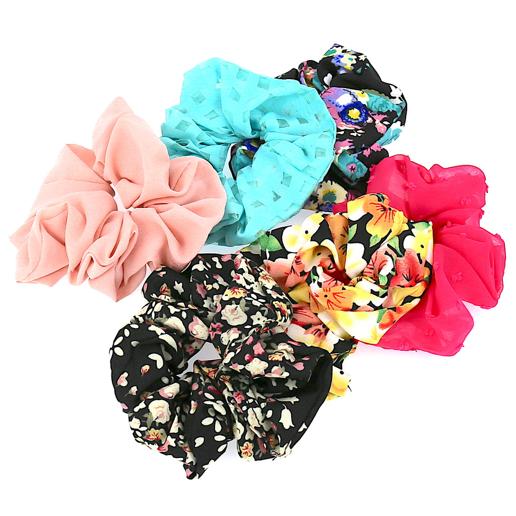 Set of 6 Piece Women Hair Accessories Girls Ties Floral Simple Printing Black Pink Elastic Scrunchies (6PCS)