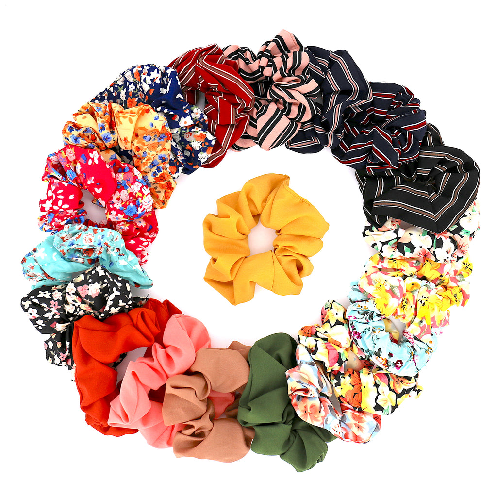 Set of 20 Women Hair Accessories Girls Multicolored Pattern Scrunchies for Hair