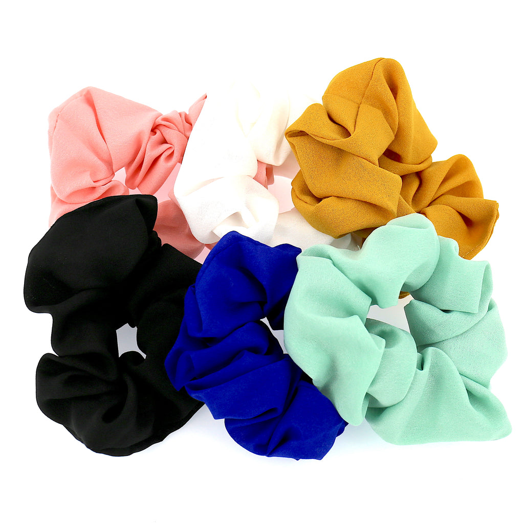SET OF 6 Women Hair Accessories Girls Soft Chiffon Simply Pattern Elastic Scrunchies (Multi-Color)