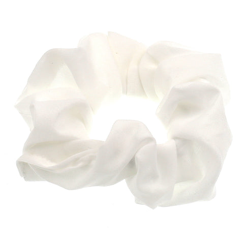 Set of 8 Hair Accessories Satin Flower Pattern Elastic Ties Scrunchies