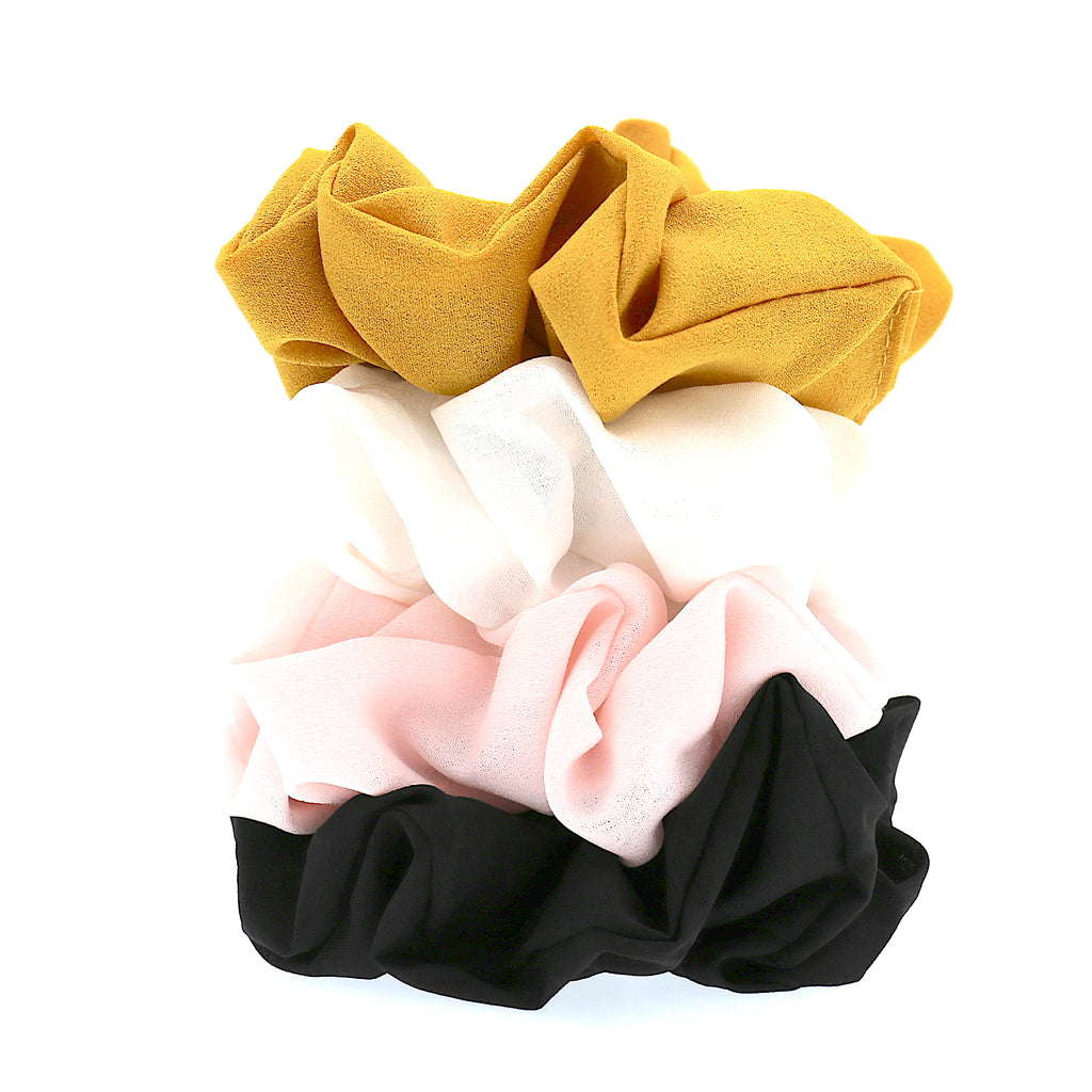 Set OF 4 Lady Hair Accessories Girls Solid Colour Chiffon Large Elastic Ties Scrunchies for Women (4 color)