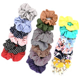 SETOF20 Hair Accessories Women Girls Multicolor Floral Satin Silk Chiffon Simple Pattern Elastic Scrunchies