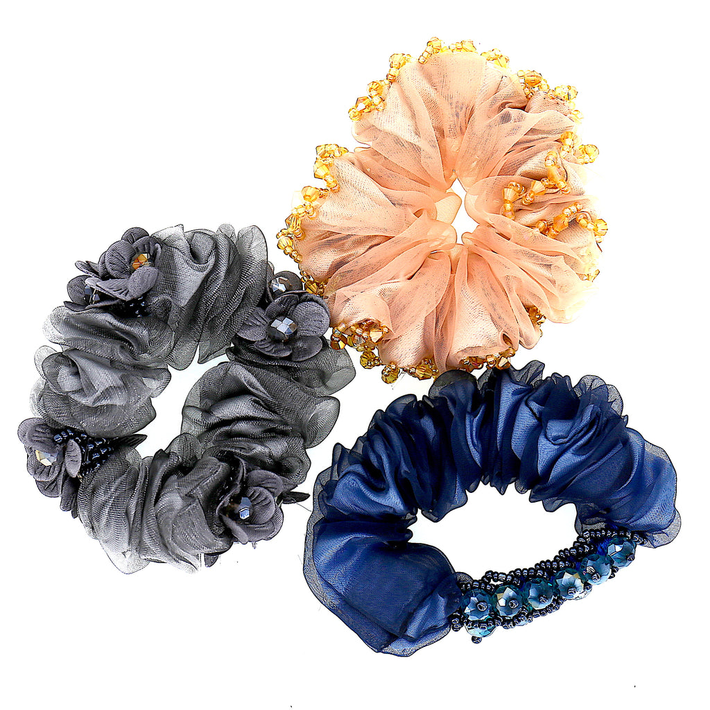 Pack of 3 Women Hair Accessories Gray Blue Beige Flower Lace Bead Scrunchies
