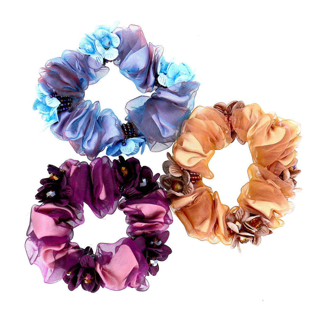 Pack of 3 Women Hair Accessories Colorful Flower Lace Bead Scrunchies
