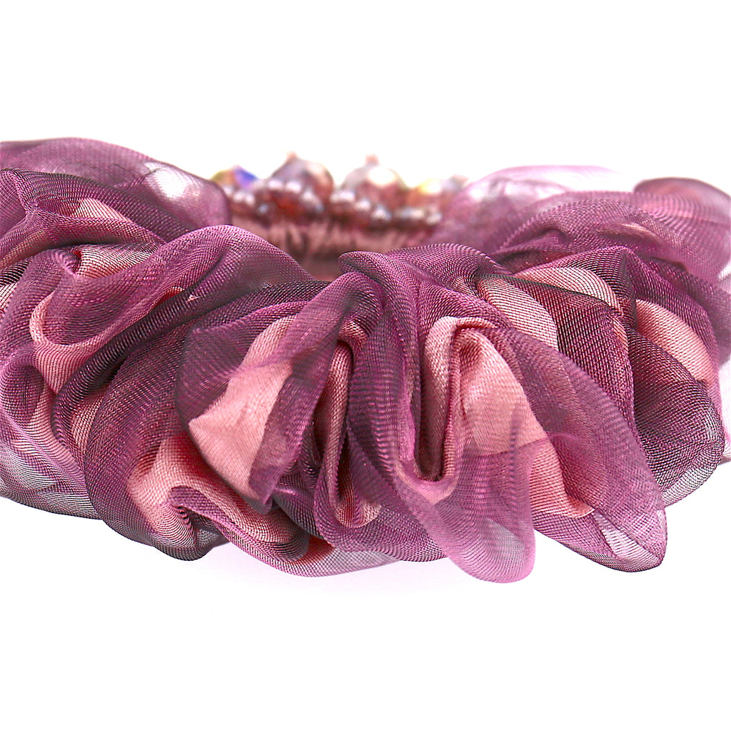 Hair Accessories  Chiffon Adjustable Dark Purple Beaded Pattern Elastic Scrunchies