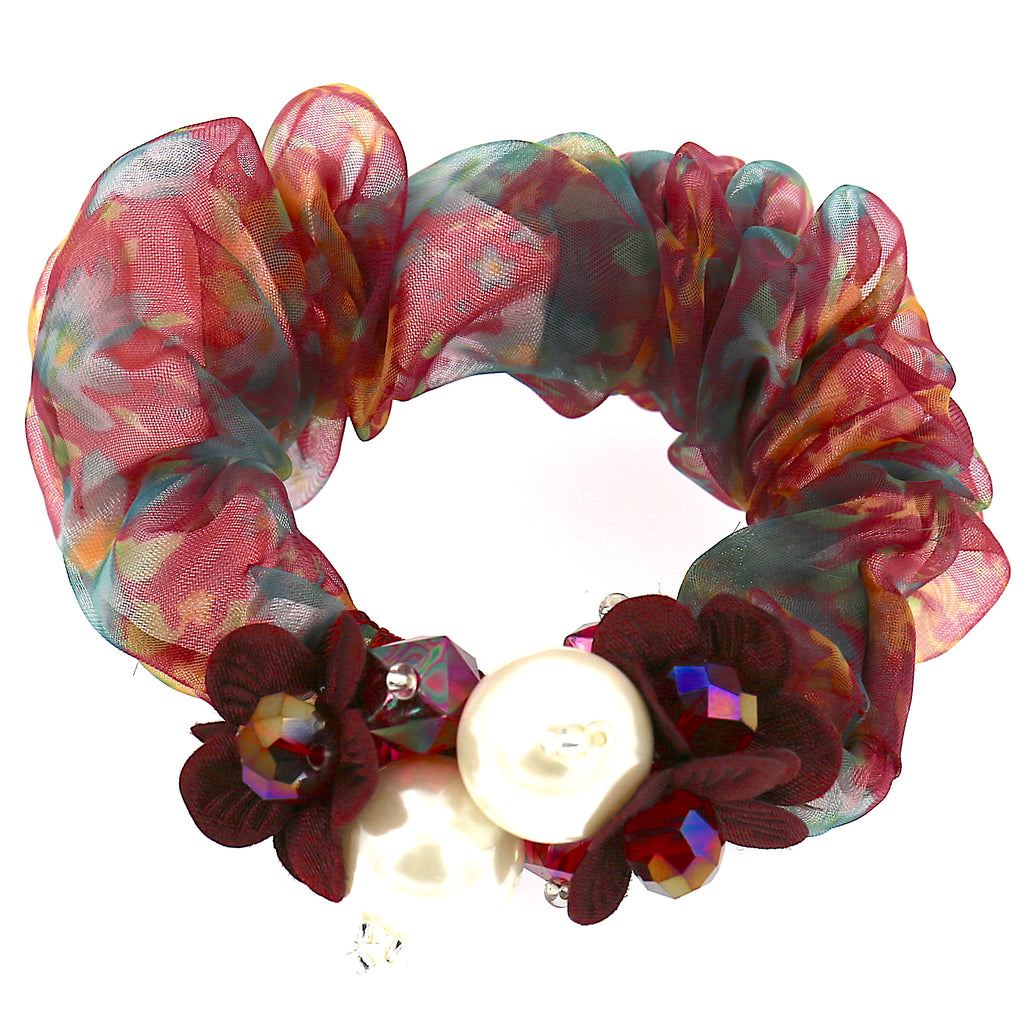 Hair Accessories Chiffon Adjustable Pink Green Beaded Pattern Elastic Scrunchies