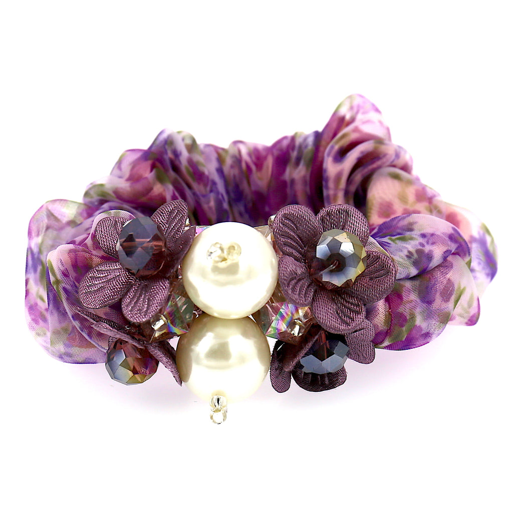 Hair Accessories Chiffon Adjustable Purple Beaded Pattern Elastic Scrunchies
