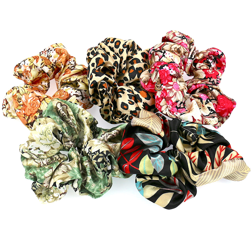 Set of 5 Women Hair Accessories Girls Ties Geo Elastic Scrunchies (5PCS)
