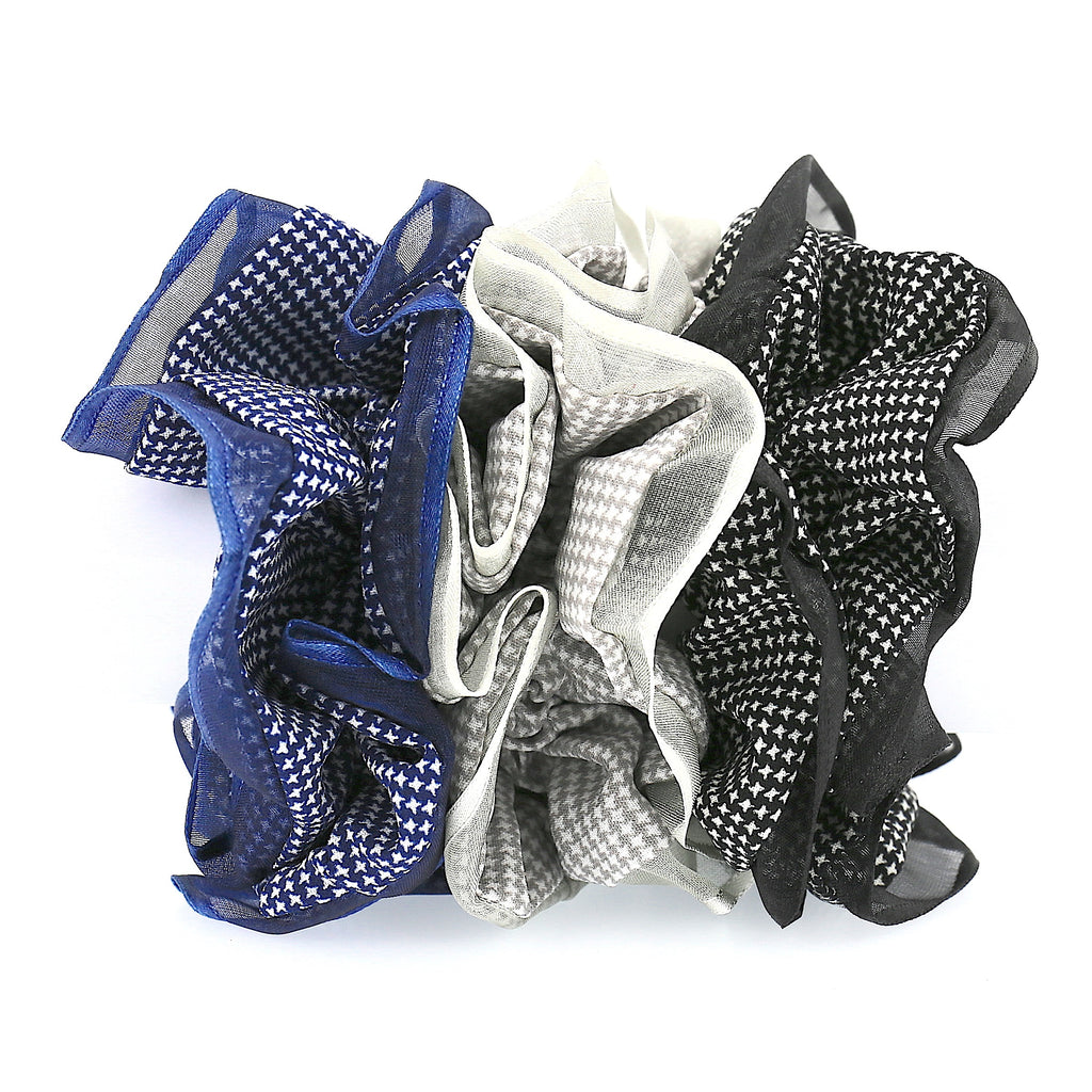 Set of 3 Hair Accessories Hair Ties Black Gray Blue Lace Layer Scrunchies (Pack of 3)