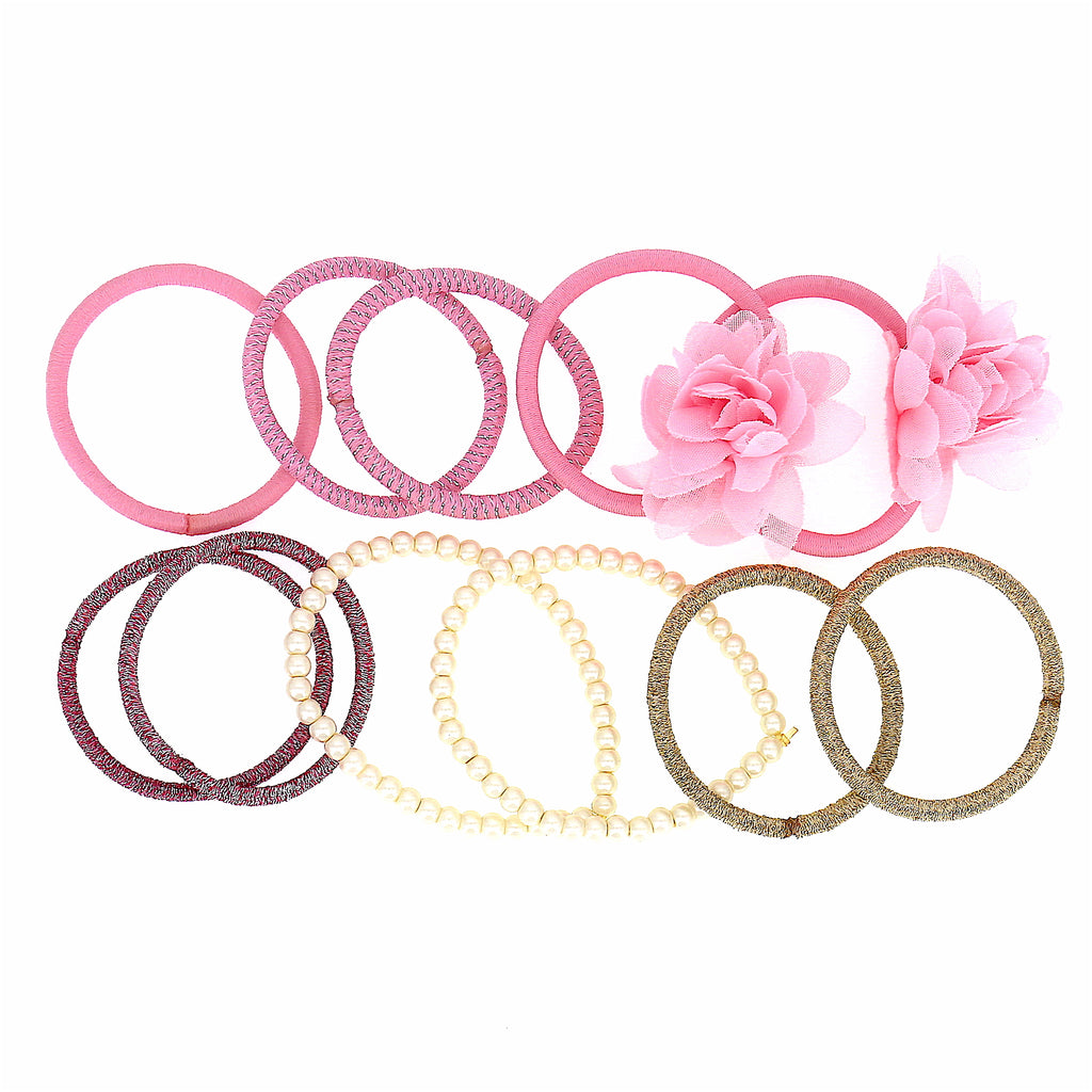 Set of 11 Women Accessories Girls  Beads Colorful Elastic Ties Scrunchies
