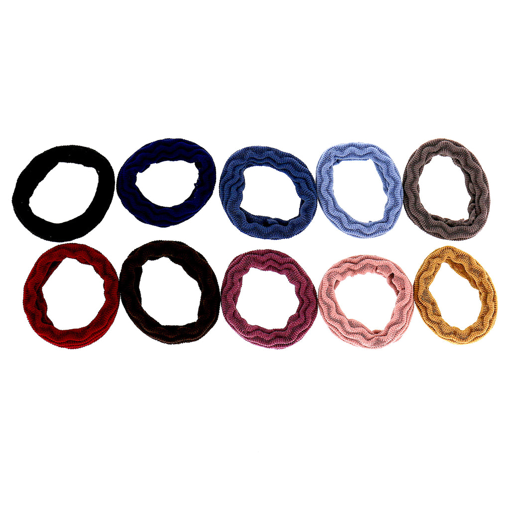 Set of 10 Women Accessories Girls Colorful Polyester Elastic Ties Scrunchies