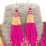Deep Pink Gold Beads Strand Collar Necklace and Earrings Set
