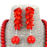 Red Bead Collar Earrings Necklace