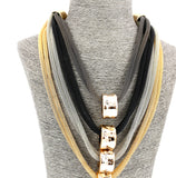 Long Alloy Gold Black Silver Gray Mesh Statement Necklace