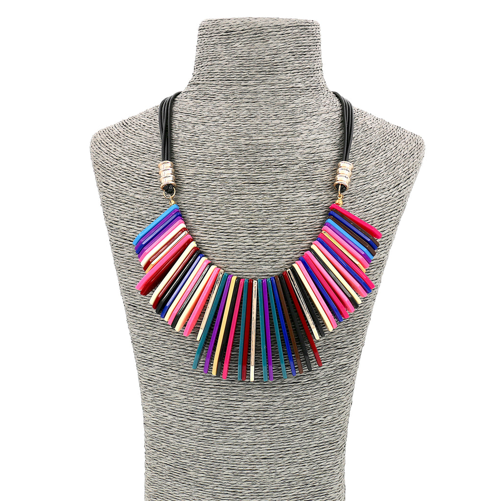 Long Acrylic Multi-Coloured Stripe Statement Necklace