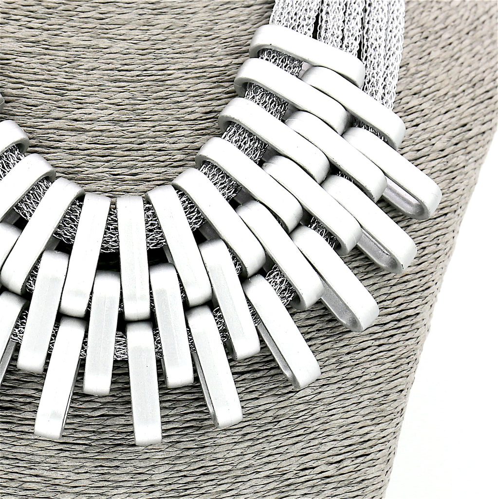 Long Alloy Acrylic Silver Mesh Statement Necklace