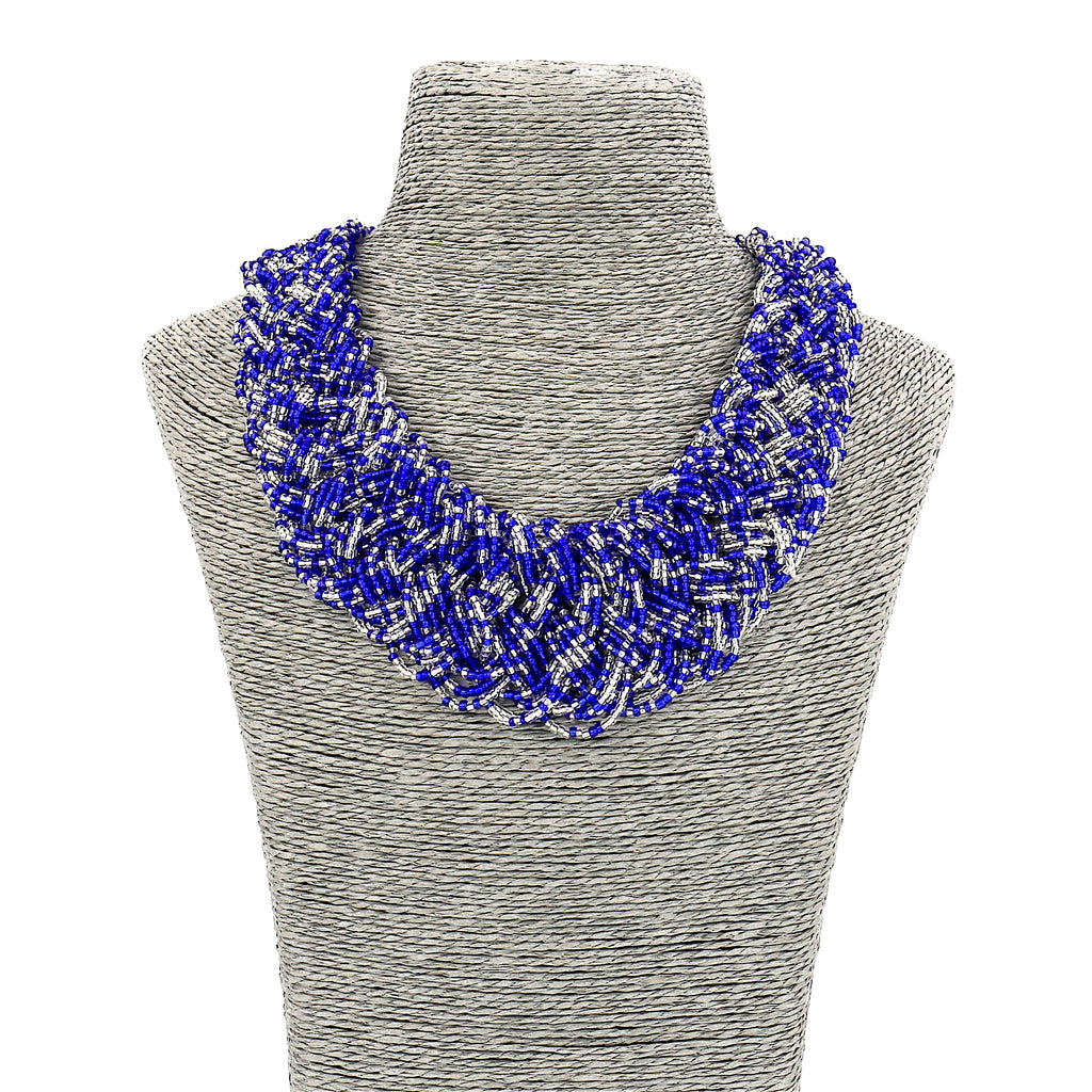 Long Resin Blue Beaded Collar Necklace