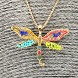 Long Alloy Multi-Coloured Dragonfly Drop Pendant Necklace Set