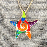 Long Alloy Multi-Coloured Starfish Drop Pendant Necklace Set