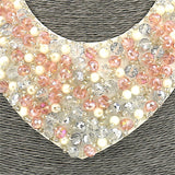 Short Resin Pink White Beaded Collar Necklace For Women